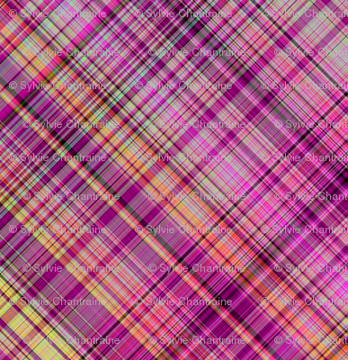 FRUIT SALADE HARMONY diagonal PLAID TARTAN 3