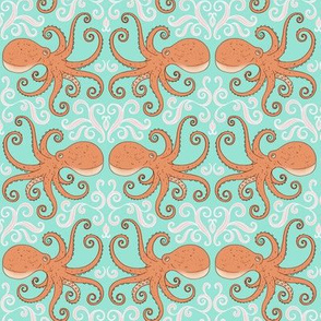 Octopuses - smaller scale on aqua