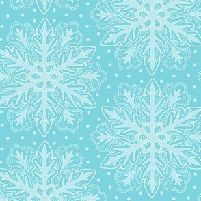Large Snowflake Pattern on blue