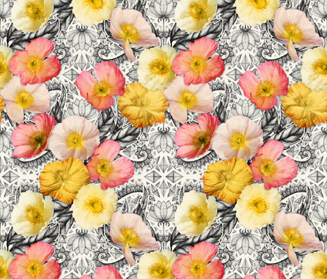 Graphic Poppy Collage fabric by micklyn on Spoonflower - custom fabric