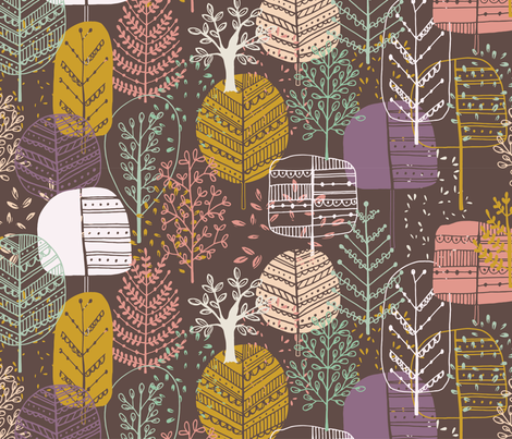 Quirky Trees fabric by myedeleon on Spoonflower - custom fabric