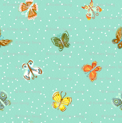 Butterflies and Dots in Aqua