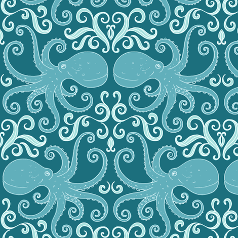 Octopuses - blue fabric by hazel_fisher_creations on Spoonflower - custom fabric