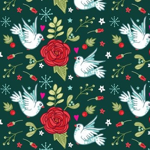 Christmas Doves and Roses