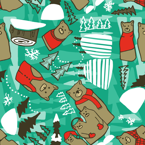 Winter Bears in teal fabric by lburleighdesigns on Spoonflower - custom fabric