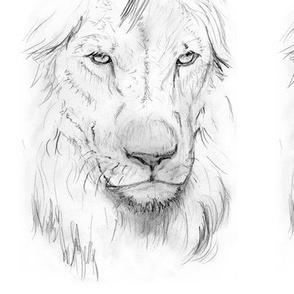 Customized lion portrait black andwhite