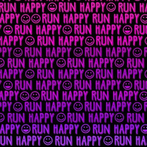 run happy faces - pinks and purples on black