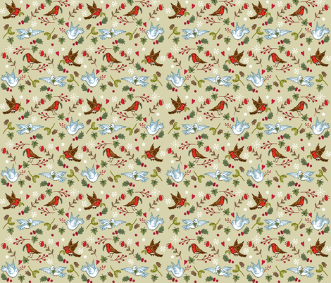Robins Doves and Mistletoe fabric by angie_spurgeon on Spoonflower - custom fabric