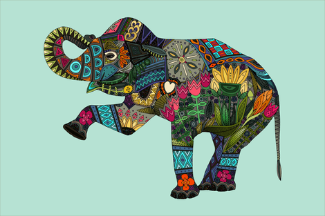 asian elephant aqua tea towel fabric by scrummy on Spoonflower - custom fabric