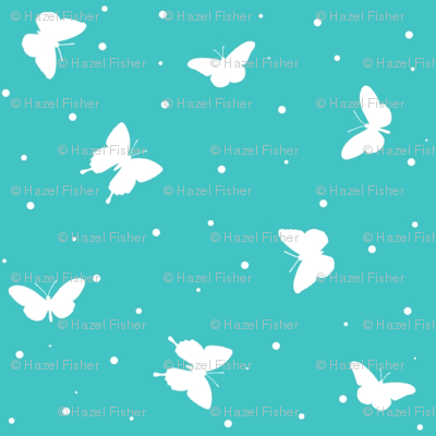 Small Butterflies - Teal blue and white