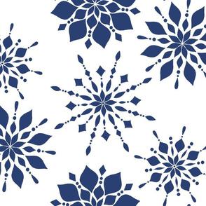 Elegant Snowflakes in Navy
