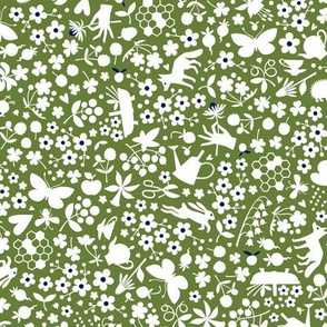 Ditsy Flora and Fauna (Grass Green)