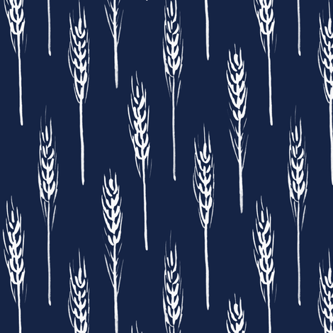 wheat - Indigo fabric by jillbyers on Spoonflower - custom fabric