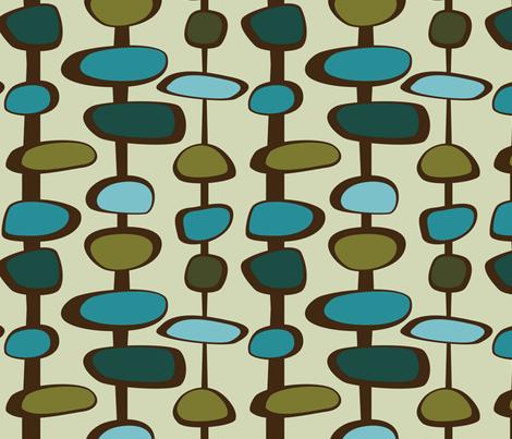 Mid Century Modern Bead (teal Palette) Fabric By Studiofibonacci On  Spoonflower   Custom