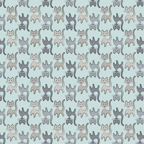 Gray Cats Retro on Pale Blue