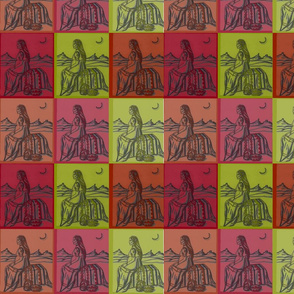 Native American Woman in Colored squares