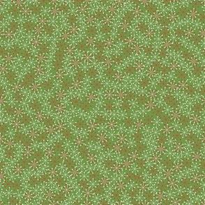 Atomic Snowflakes- Olive Green