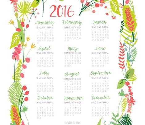 Garden Foliage 2016 Tea Towel Calendar