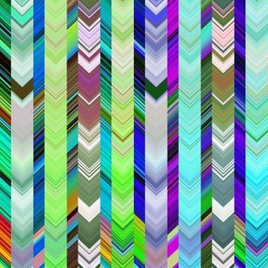 CRAZY CHEVRONS BICOLOR ARROWS BRIGHT Green Meadow and Turquoise Sea