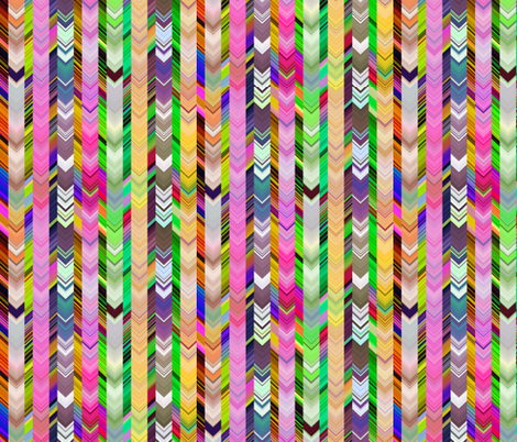 CRAZY CHEVRONS ARROWS  BRIGHT CRAZY FLORAL MEADOW fabric by paysmage on Spoonflower - custom fabric