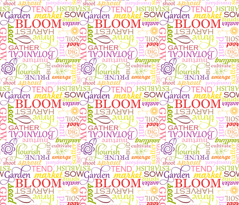 ColorGardenWordFabric fabric by blairfully_made on Spoonflower - custom fabric