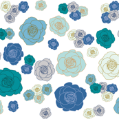 roses floral pattern (blues)
