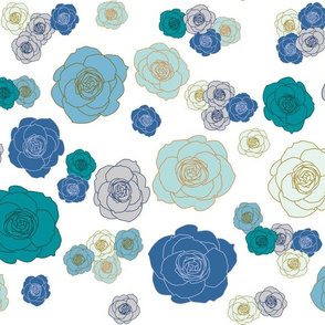 roses in blue, teal & turquoise