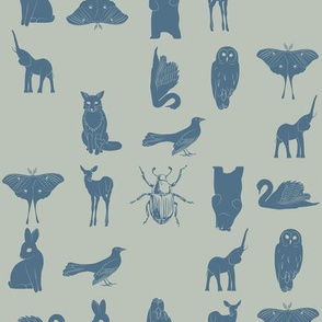 grid collective animal pattern in blue