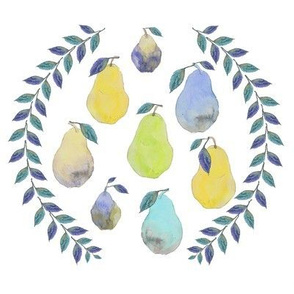 Pear Watercolor Wreath