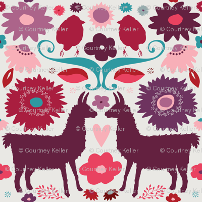 Llama BrightFolk Pink&Plum
