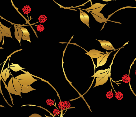 Black and Gold Blackberries Large fabric by katebillingsley on Spoonflower - custom fabric
