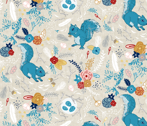 Squirrels (custom Colour 3) fabric by nouveau_bohemian on Spoonflower - custom fabric