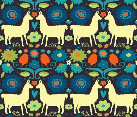Llama BrightFolk on Dark fabric by onelittleprintshop on Spoonflower - custom fabric