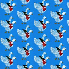 White Ducks on Blue Background