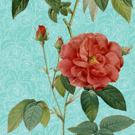 Antique_Roses_vertical_rows_on_Blue fabric by kura_carpenter on Spoonflower - custom fabric