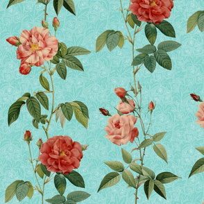 Antique_Roses_vertical_rows_on_Blue