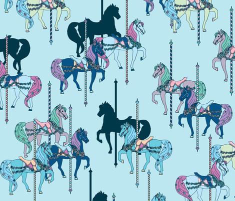 Carousel Navy Blue fabric by katebillingsley on Spoonflower - custom fabric