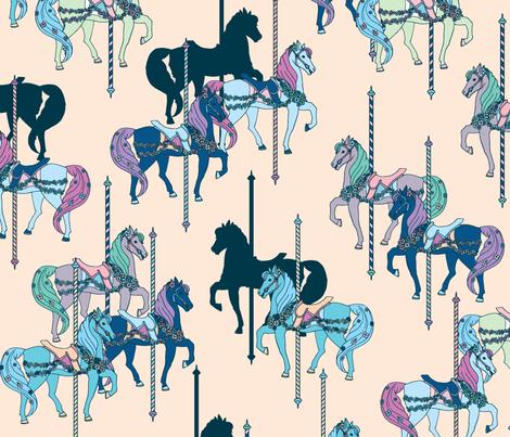 Carousel Navy & Peach fabric by katebillingsley on Spoonflower - custom fabric