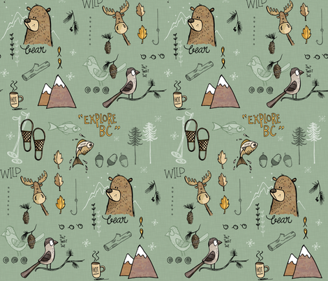Explore BC Mountains - green fabric by mulberry_tree on Spoonflower - custom fabric