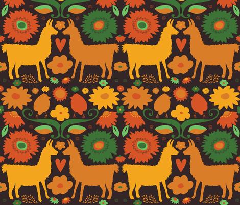 Llama BrightFolk Retro on dark fabric by onelittleprintshop on Spoonflower - custom fabric