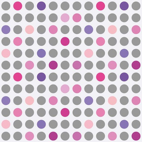 Grey, Pink and Purple  Dots