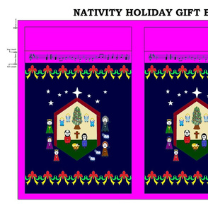 Nativity Holiday Gift Bag - pink/navy