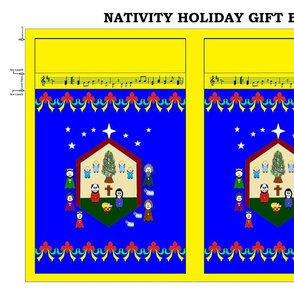 Nativity Holiday Gift Bag - yellow/royal blue
