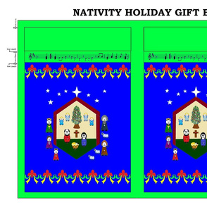 Nativity Holiday Gift Bag - green/royal blue
