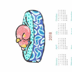 pup nap 4 : 2018 calendar tea towel