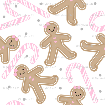 Gingerbread Girl with Pink Candy cane MEDIUM