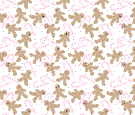 Gingerbread Girl with Pink Candy cane MEDIUM fabric by sylviaoh on Spoonflower - custom fabric