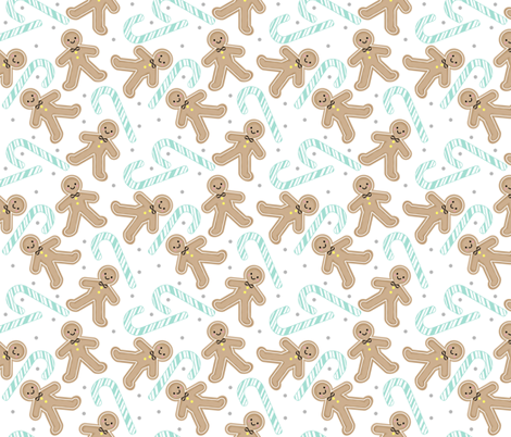 Gingerbread Boy with Mint Candycane fabric by sylviaoh on Spoonflower - custom fabric