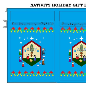 Nativity Holiday Gift Bag - blue