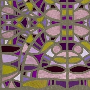 Stained glass windows in mustard + purples by Su_G